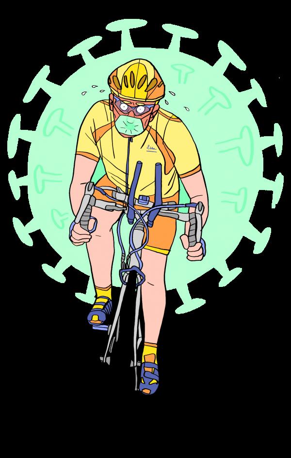 covid-19 is een lastpak voor de triatleet (illustratie door Karida)